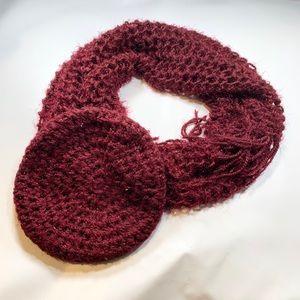 Burgundy 2 Piece Scarf Beanie Knit With Silver
